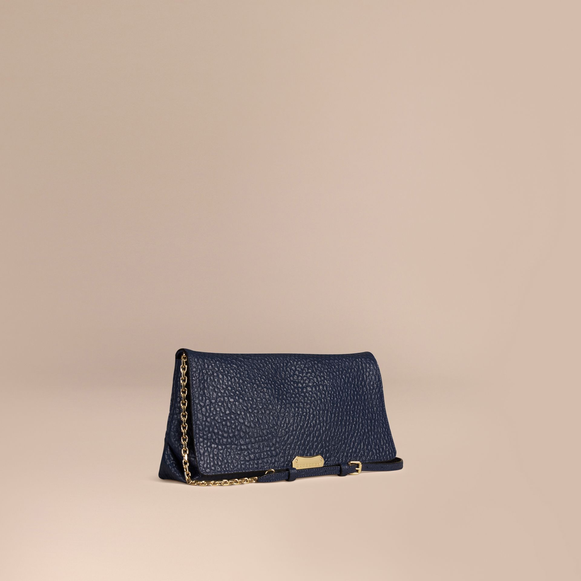 Blue carbon Medium Signature Grain Leather Clutch Bag Blue Carbon - gallery image 1
