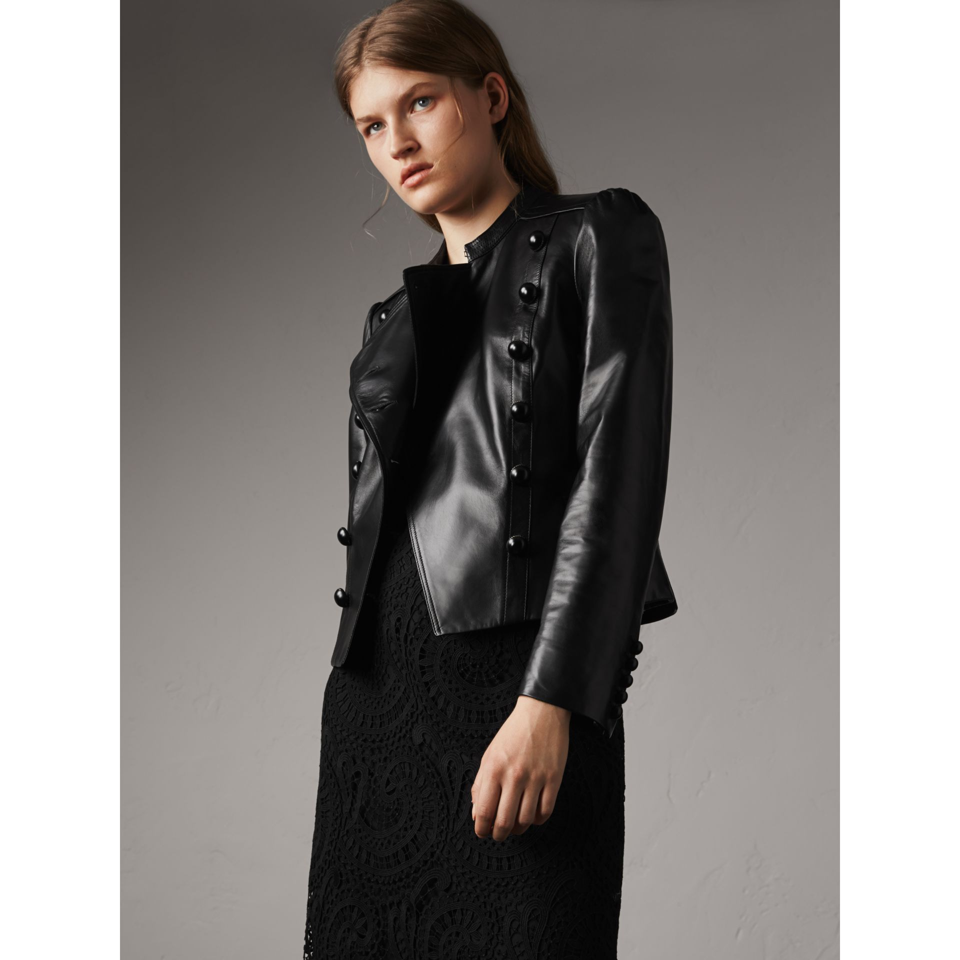 Lambskin Double-breasted Jacket in Black - Women | Burberry - gallery image 5