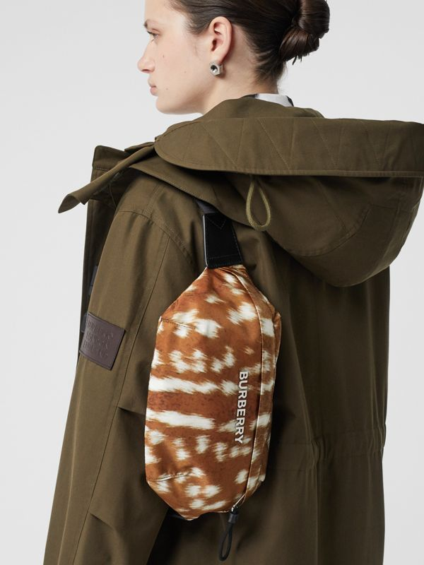 Medium Deer Print Bum Bag in Tan/white | Burberry - cell image 2