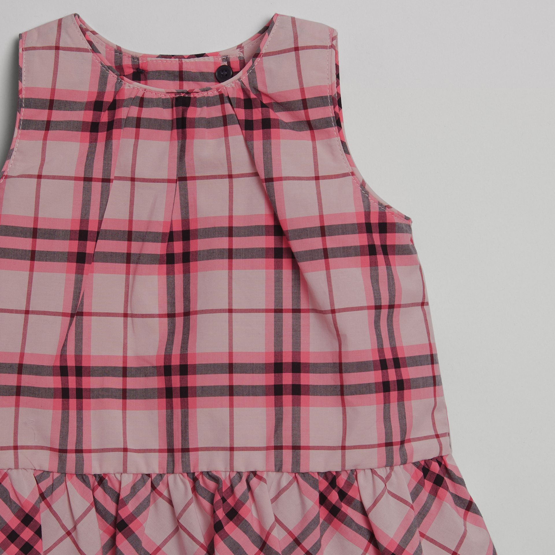 Haut en coton à motif check avec volants (Rose Vif) - Enfant | Burberry Canada - photo de la galerie 3