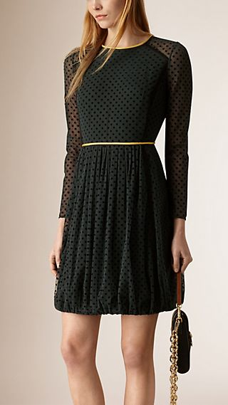 Long-Sleeved Polka Dot Tulle Dress