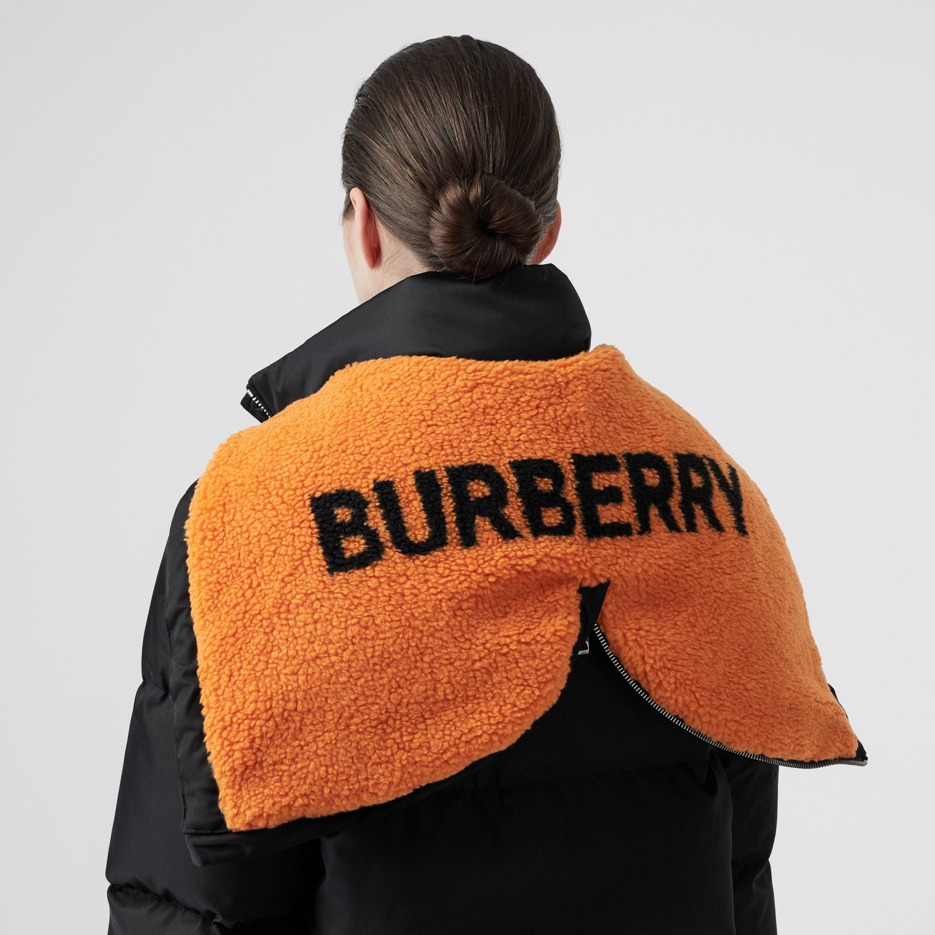 Logo Detail ECONYL® Puffer Coat in Black/orange - Women | Burberry Australia - gallery image 5