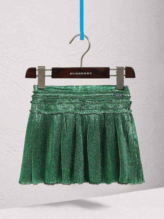 Pleated Silk Lamé Skirt in Turquoise