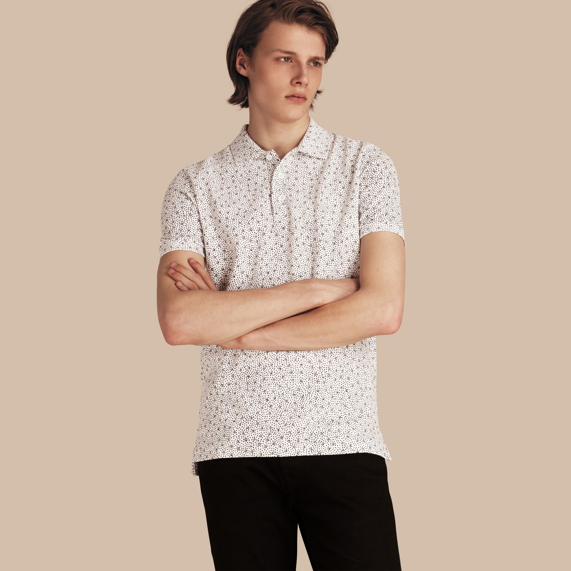 White Painterly Spot Print Cotton Polo Shirt White - gallery image 1