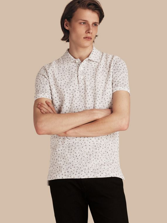 Painterly Spot Print Cotton Polo Shirt White
