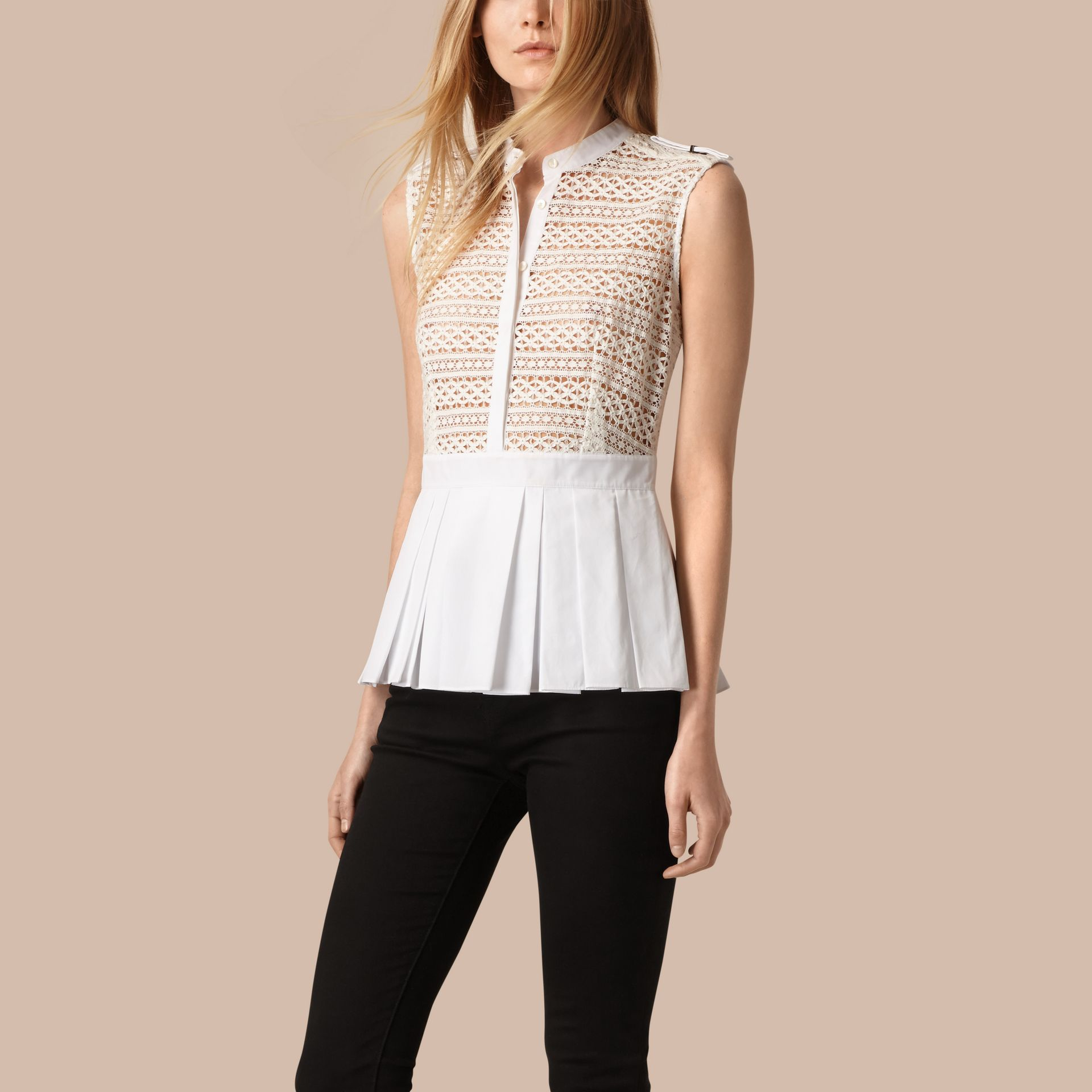 White Sleeveless Italian Lace Peplum Top - gallery image 1