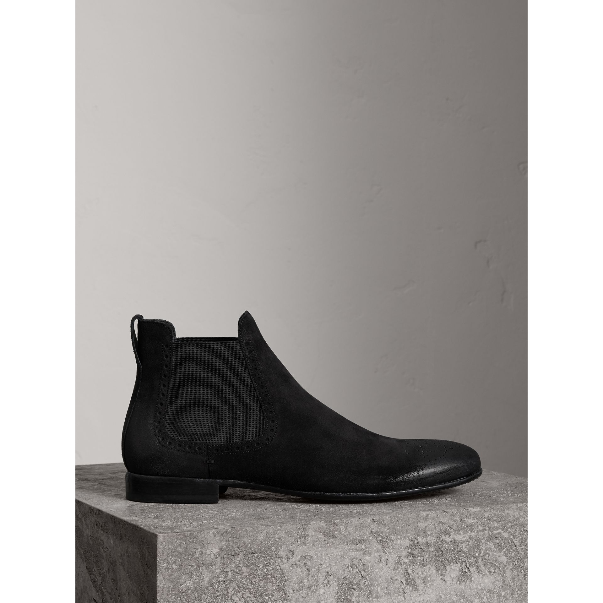 Brogue Detail Suede Chelsea Boots in Black - Men | Burberry - gallery image 0