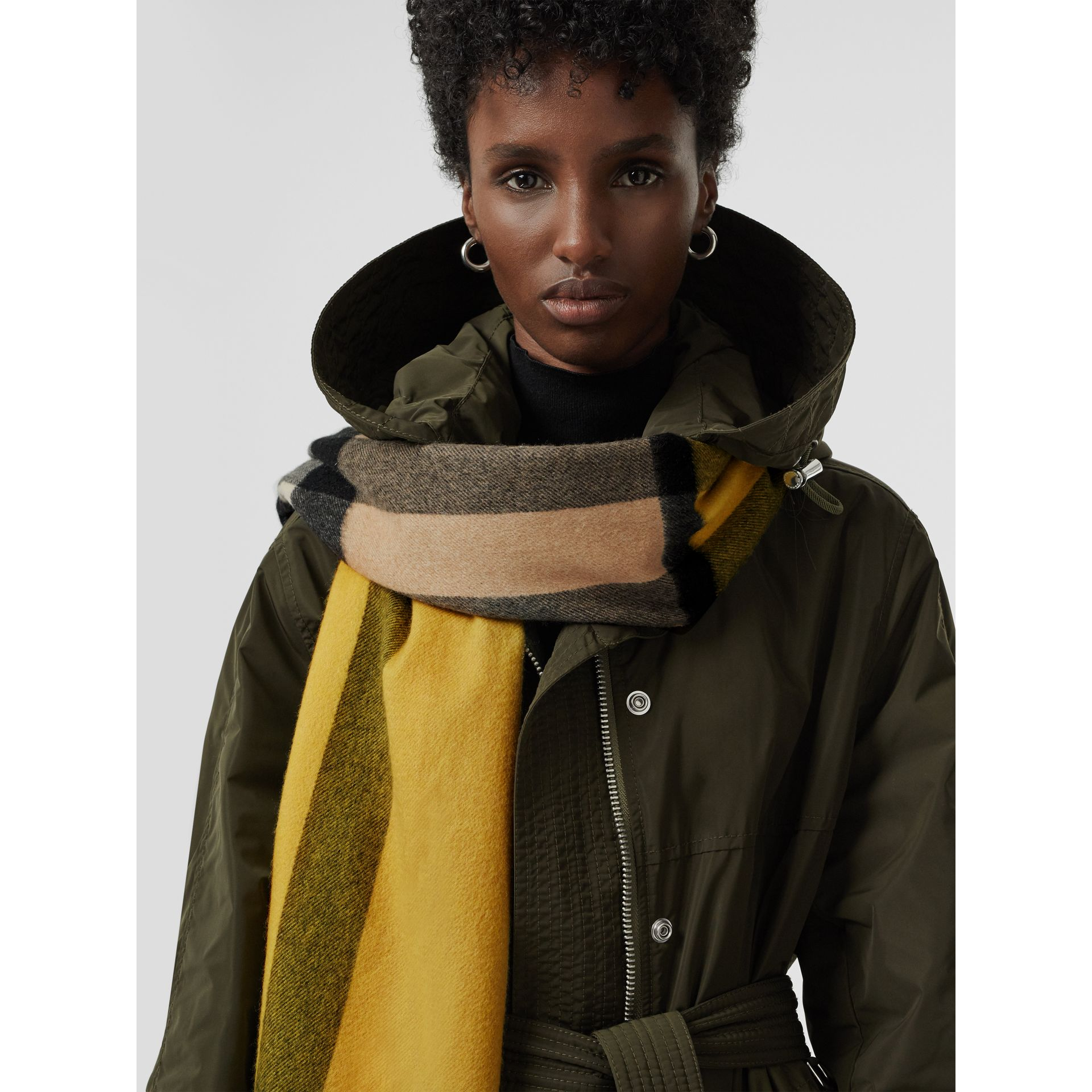Colour Block Check Cashmere Scarf in Gorse Yellow | Burberry - gallery image 5