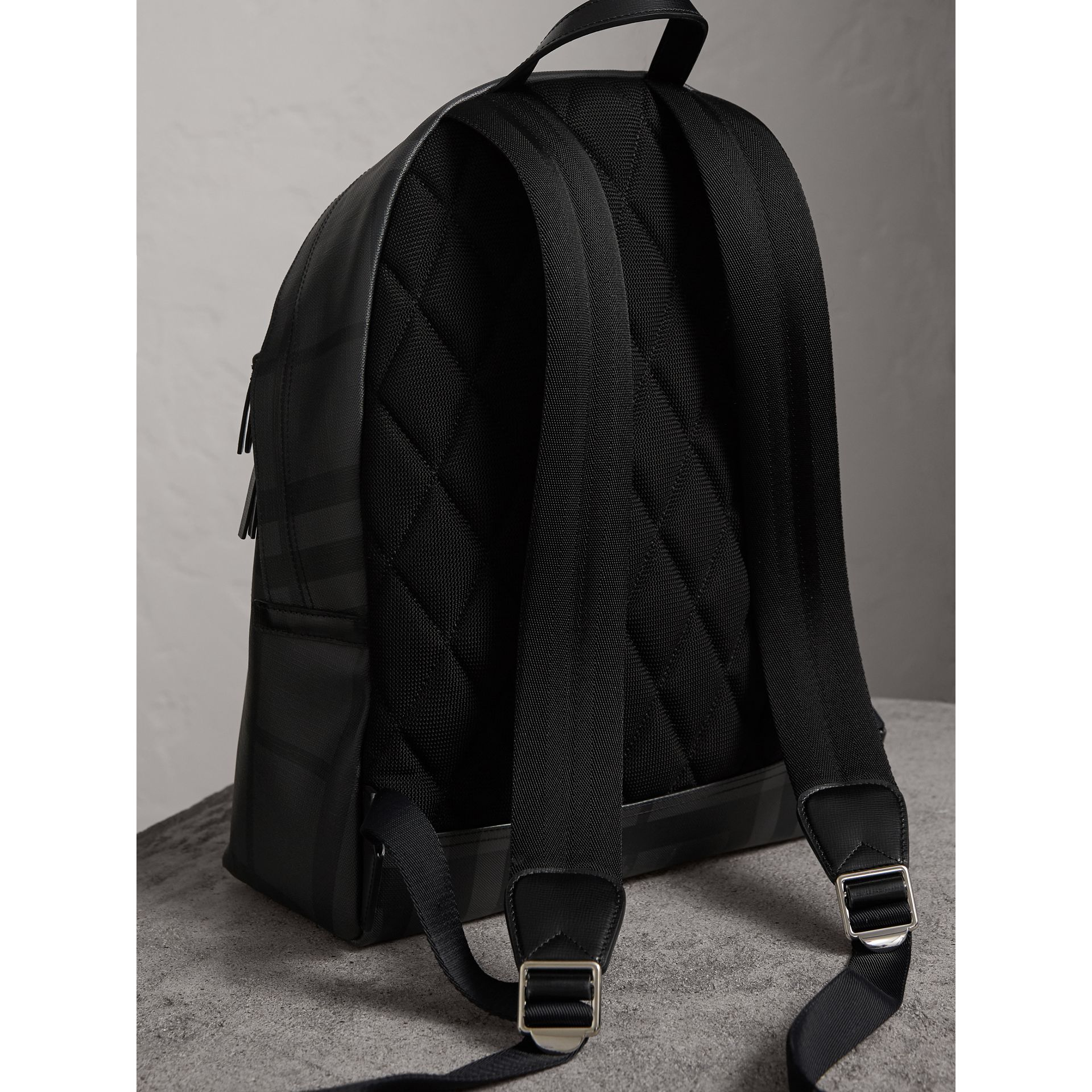Leather Trim London Check Backpack in Charcoal/black - Men | Burberry - gallery image 2