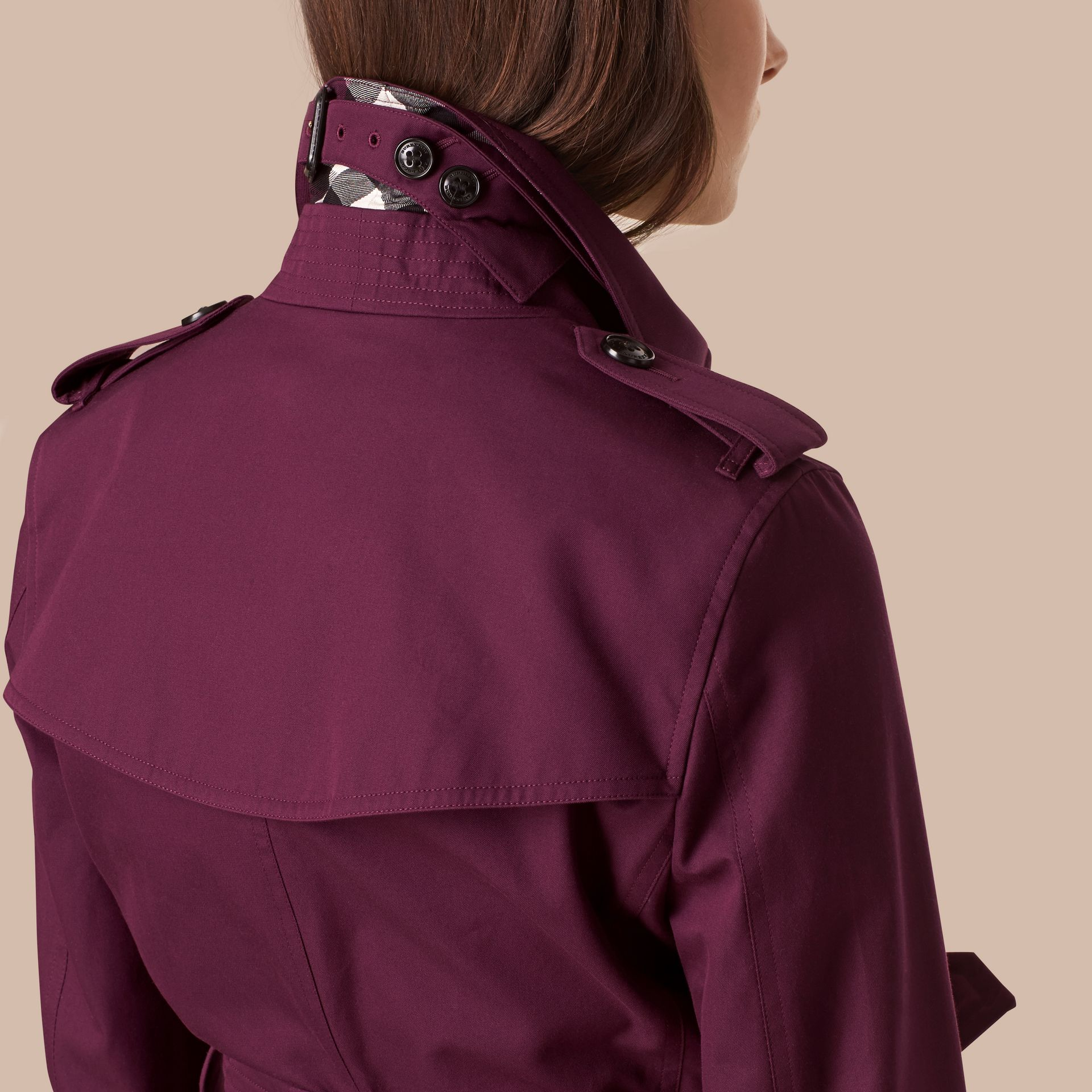 Bright burgundy Lightweight Cotton Gabardine Trench Coat - gallery image 5