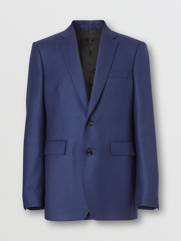 Classic Fit Birdseye Wool Tailored Jacket in Bright Navy - Men | Burberry - cell image 3