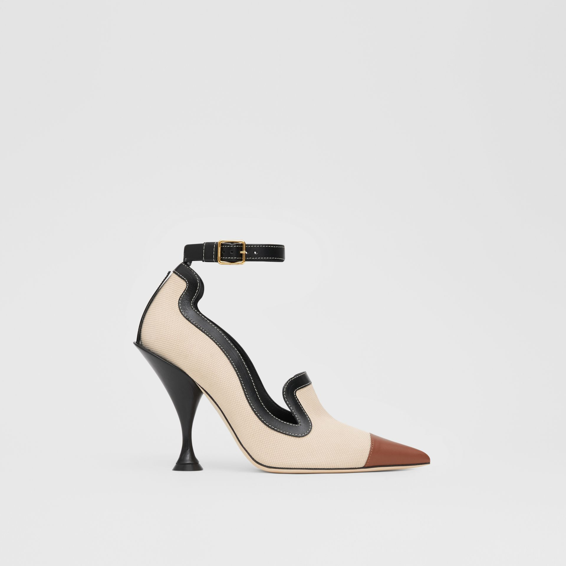 Cotton Canvas and Leather Point-toe Pumps in Natural/black - Women | Burberry Singapore - gallery image 5