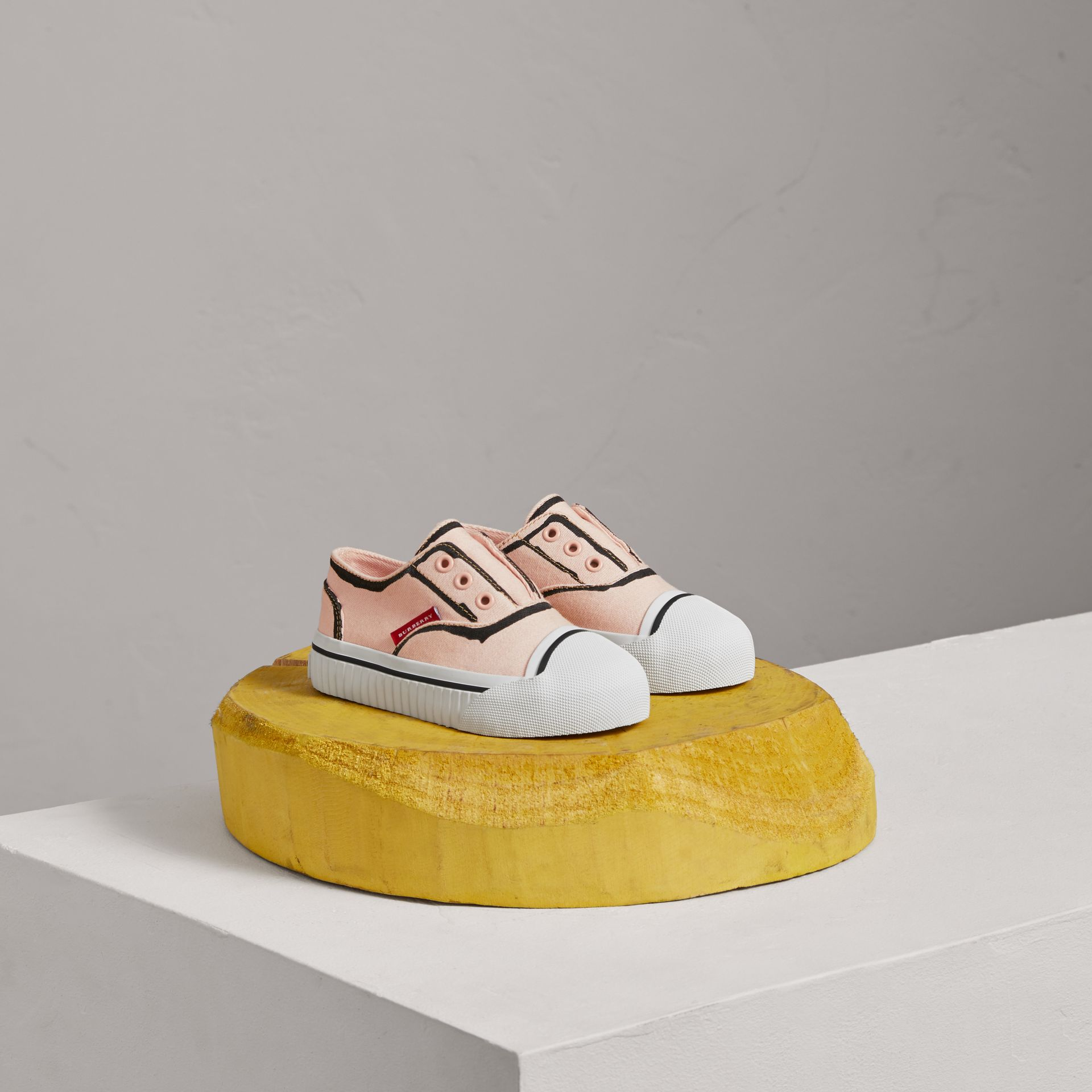 Scribble Print Slip-on Sneakers in Pale Rose Pink | Burberry - gallery image 0
