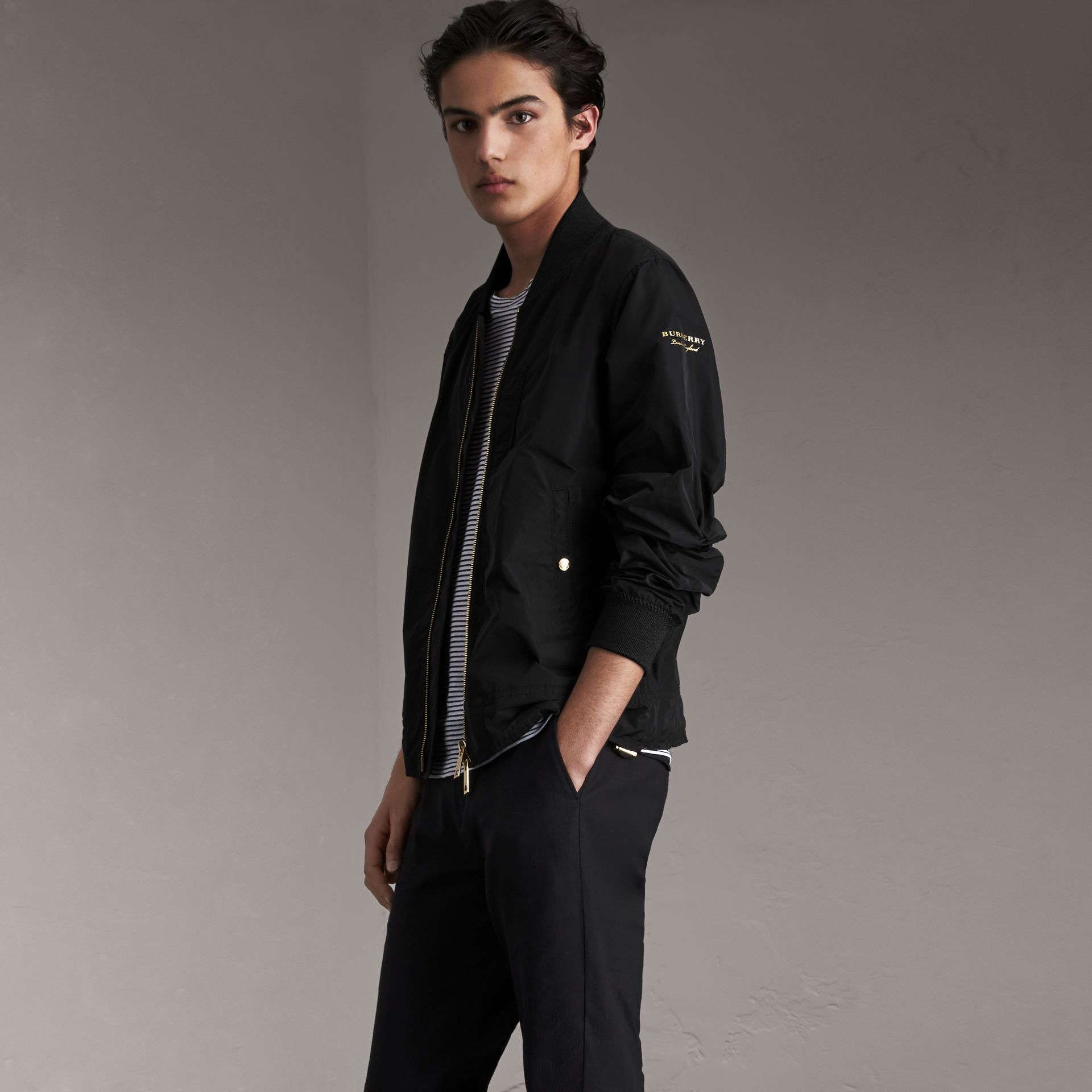 Shape-memory Taffeta Bomber Jacket in Black - Men | Burberry - gallery image 0