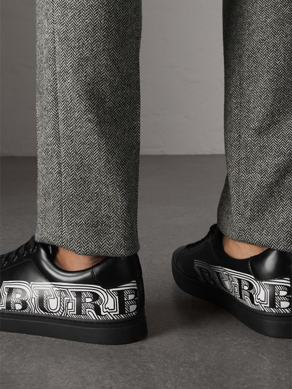 Doodle Print Leather Sneakers in Black - Men | Burberry - cell image 2