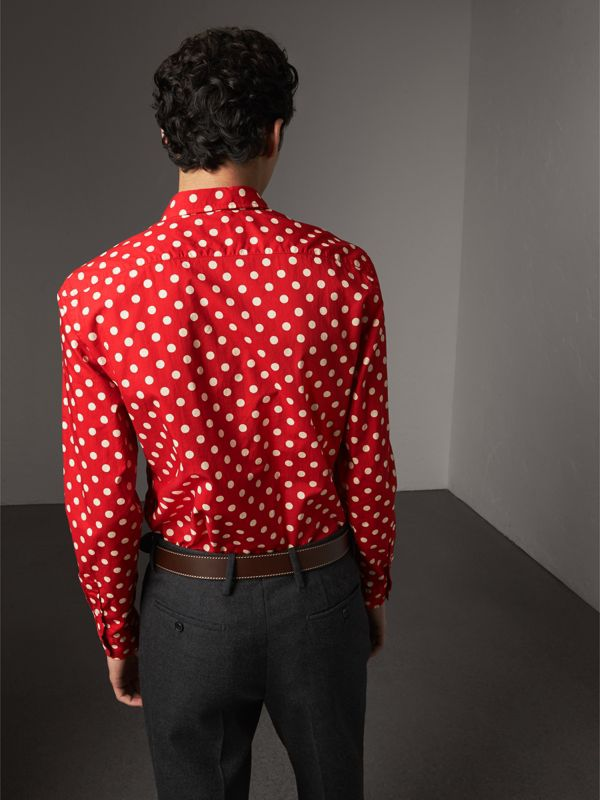 Polka-dot Cotton Flannel Shirt in Bright Orange Red - Men | Burberry - cell image 2