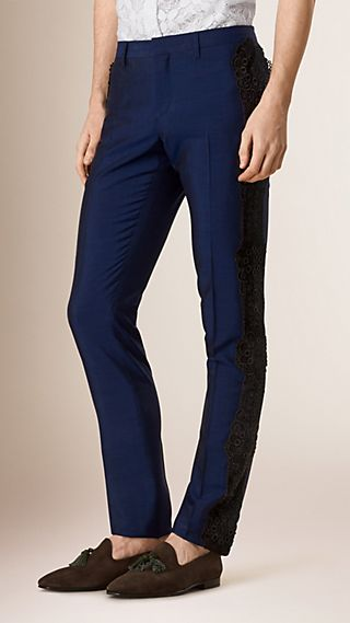 Slim Fit Lace Detail Wool Blend Tailored Trousers