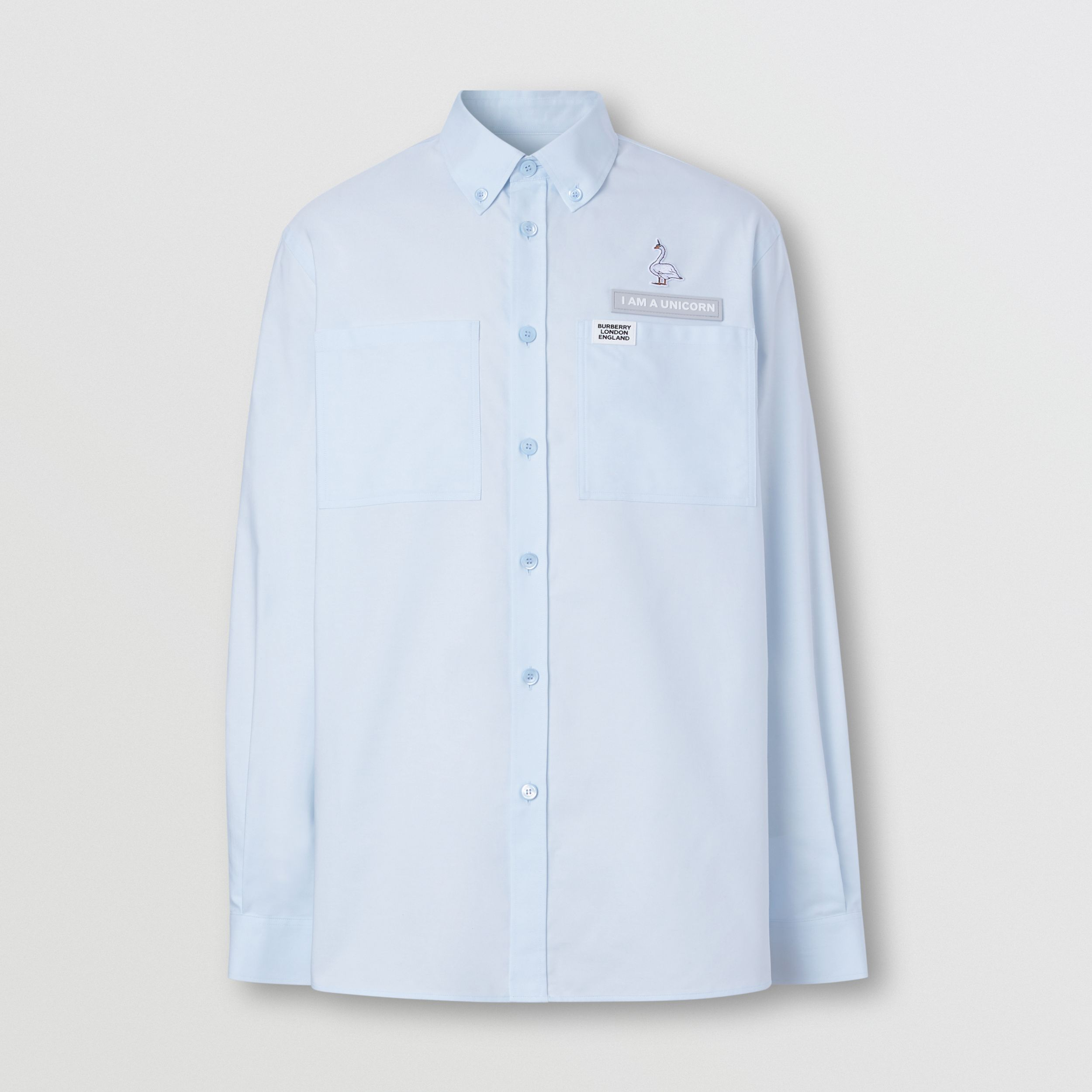 Swan and Slogan Appliqué Cotton Oversized Shirt in Sky Blue - Men | Burberry - 4