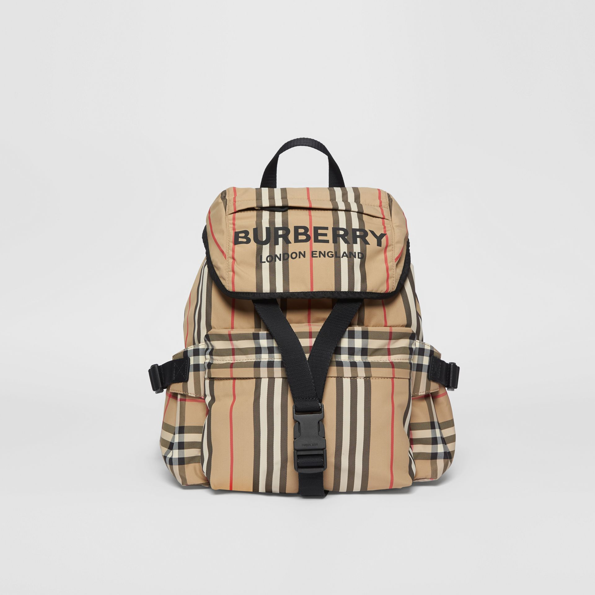 Logo Print Icon Stripe Nylon Backpack in Archive Beige - Women | Burberry United Kingdom - gallery image 0
