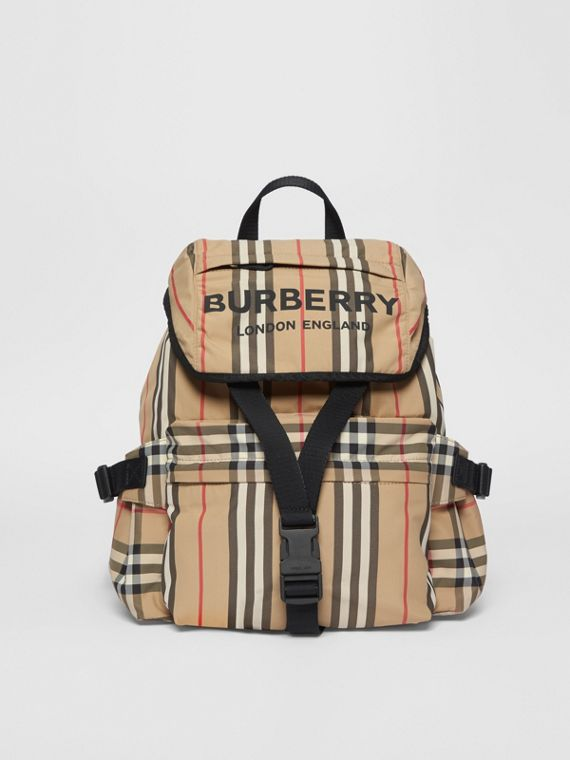 Logo Print Icon Stripe Nylon Backpack in Archive Beige