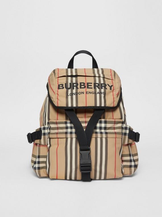 Rucksack aus Nylon mit Streifen und Logo (Vintage-beige)