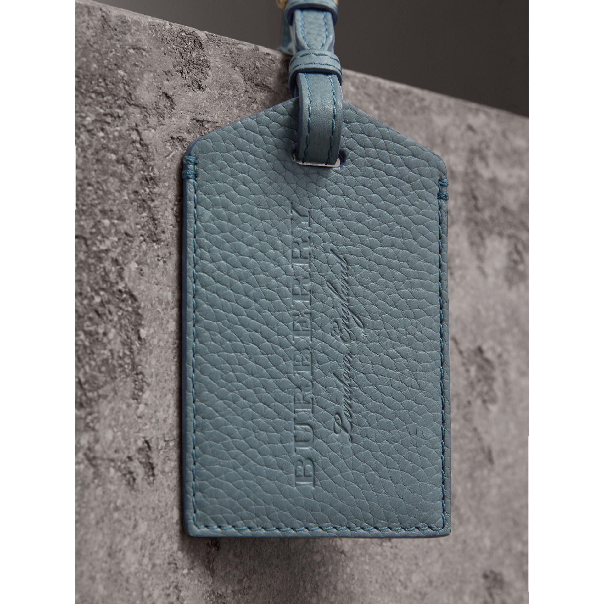Grainy Leather Luggage Tag in Dusty Teal Blue | Burberry - gallery image 1