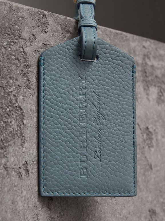 Grainy Leather Luggage Tag in Dusty Teal Blue | Burberry - cell image 1