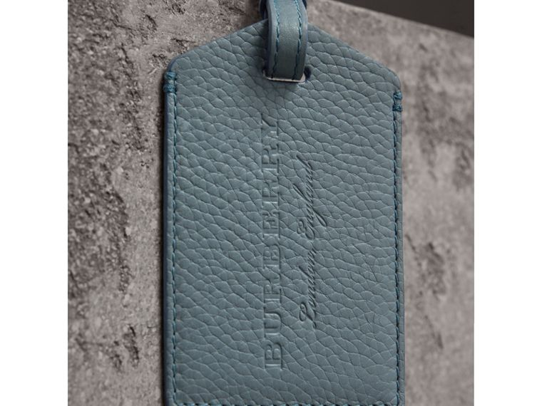 Grainy Leather Luggage Tag in Dusty Teal Blue | Burberry United States - cell image 1