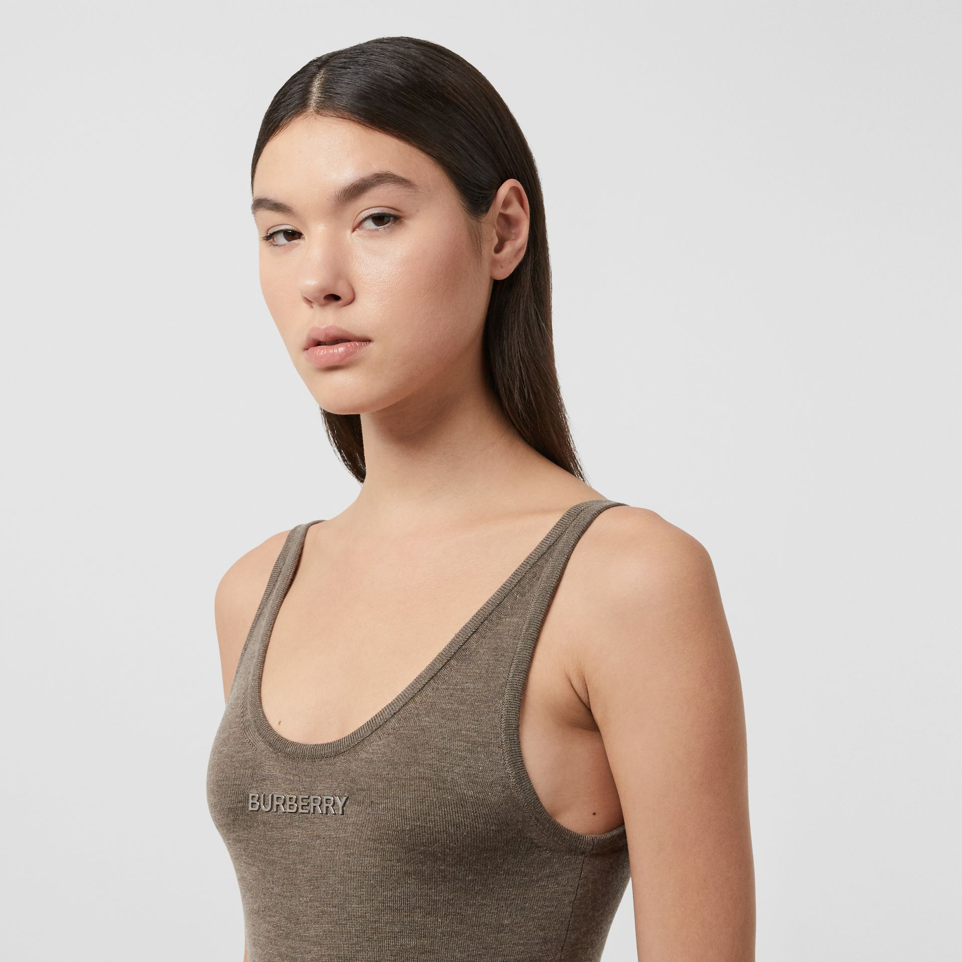 Logo Detail Rib Knit Technical Cashmere Bodysuit in Pecan Melange - Women | Burberry - gallery image 1