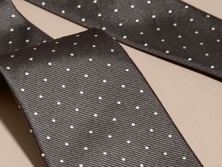 Charcoal Modern Cut Polka Dot Silk Tie Charcoal - cell image 1