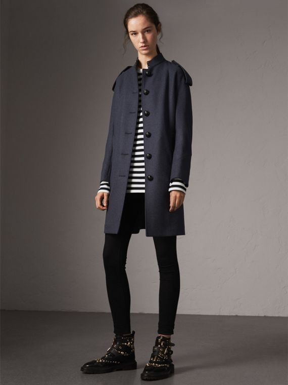 Collarless Wool Blend Coat in Storm Blue Melange