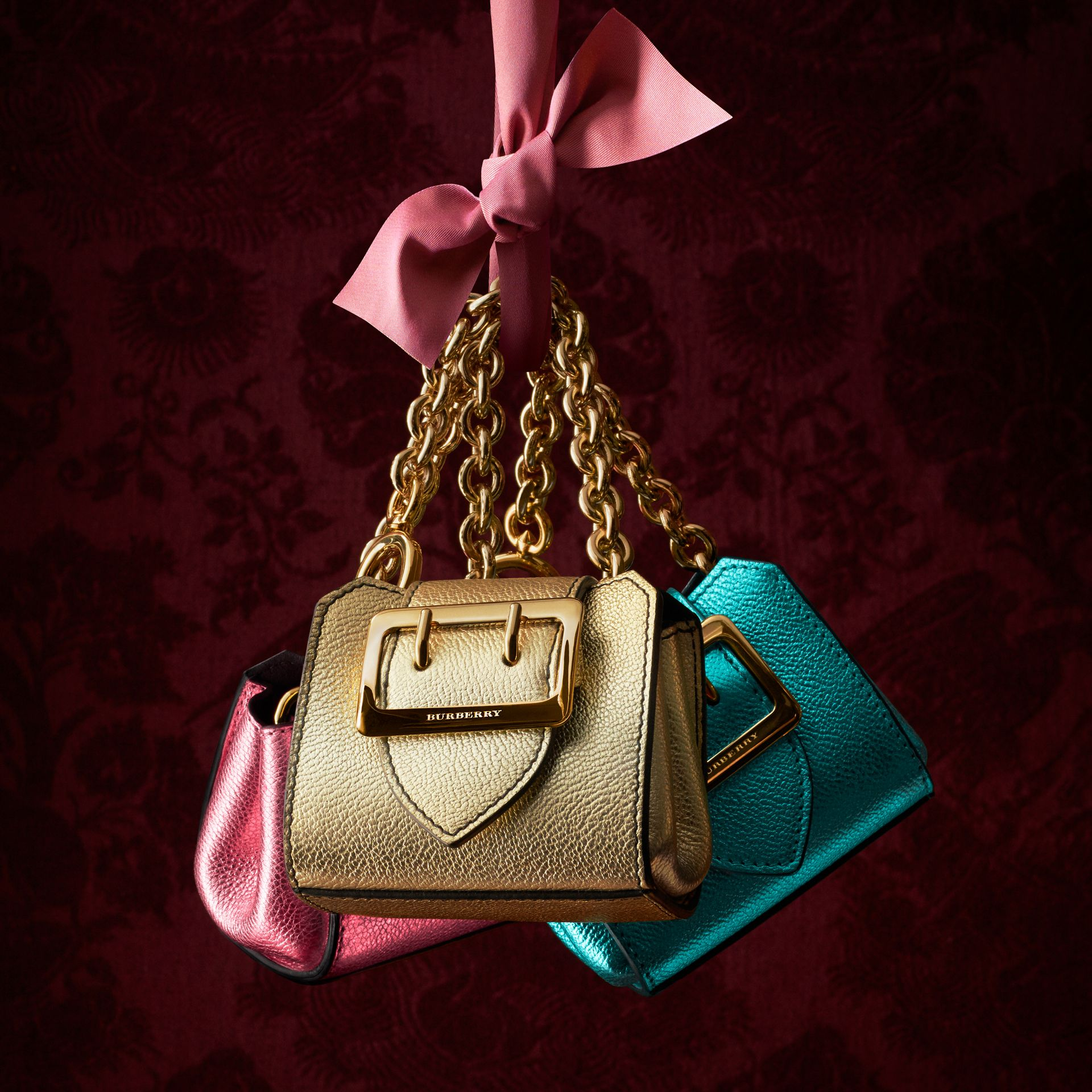 Pale orchid The Mini Buckle Tote Charm in Metallic Leather Pale Orchid - gallery image 5