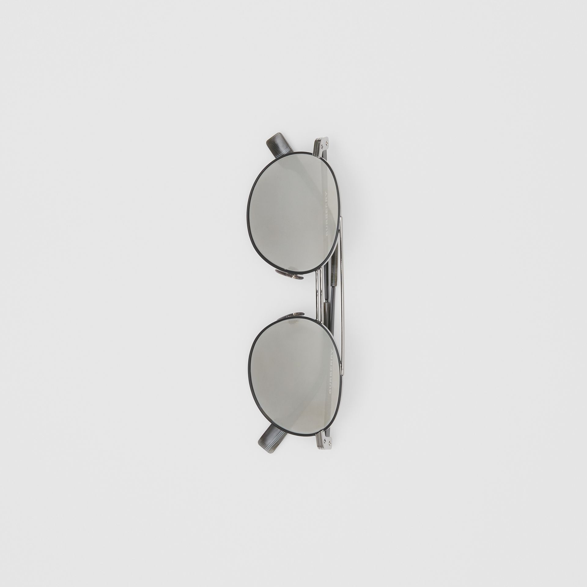 Top Bar Detail Round Frame Sunglasses in Gunmetal Grey - Men | Burberry - gallery image 3