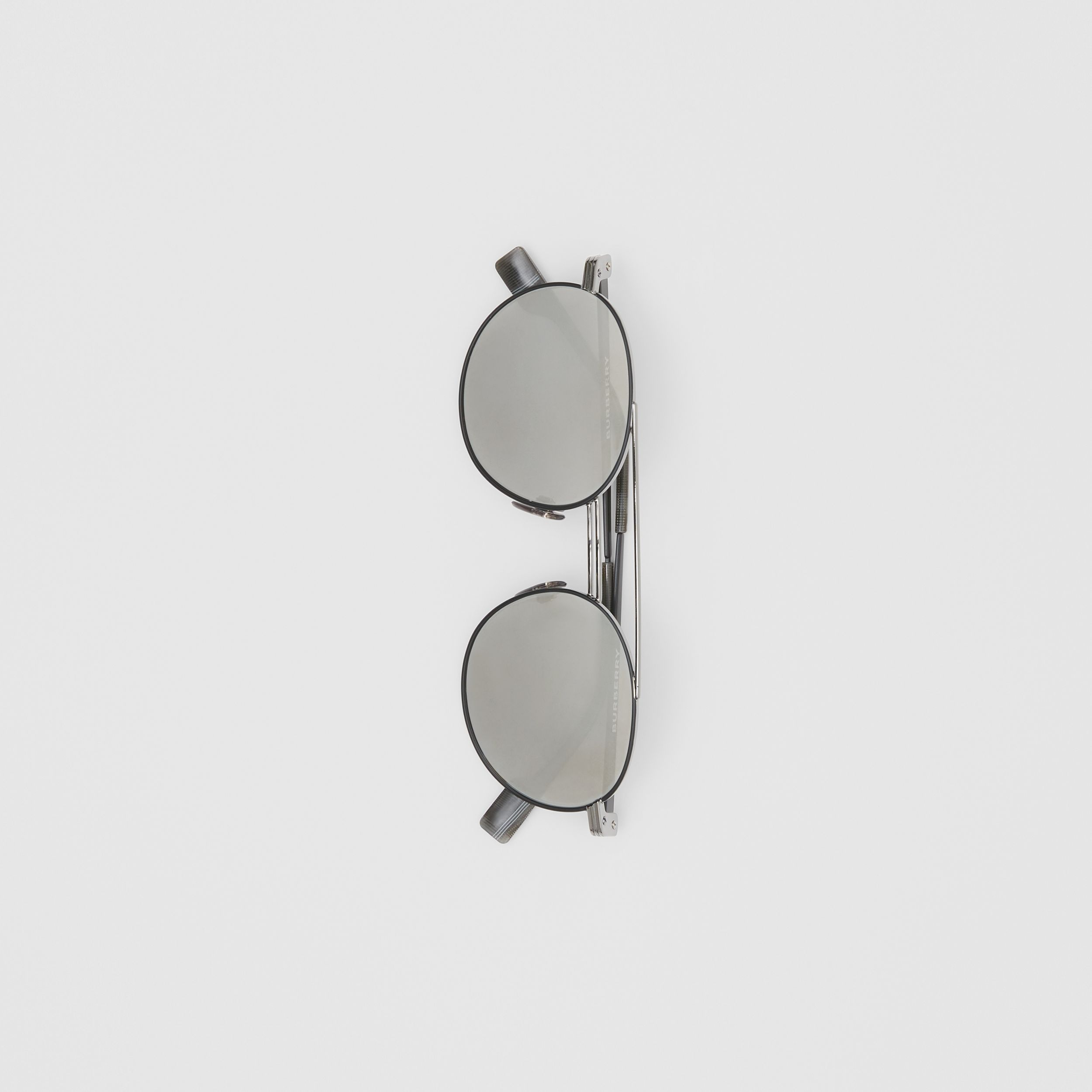 Top Bar Detail Round Frame Sunglasses in Gunmetal Grey - Men | Burberry - 4