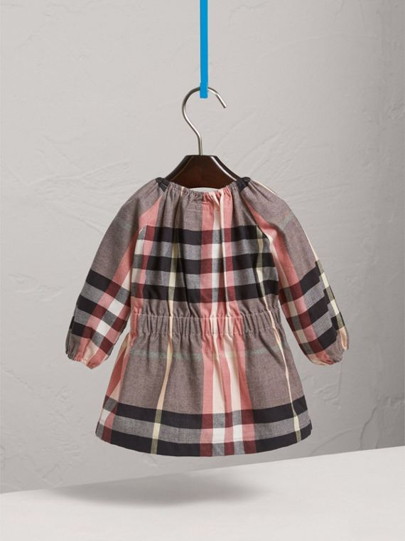 Gathered Check Cotton Flannel Dress in Dusty Pink | Burberry - cell image 3