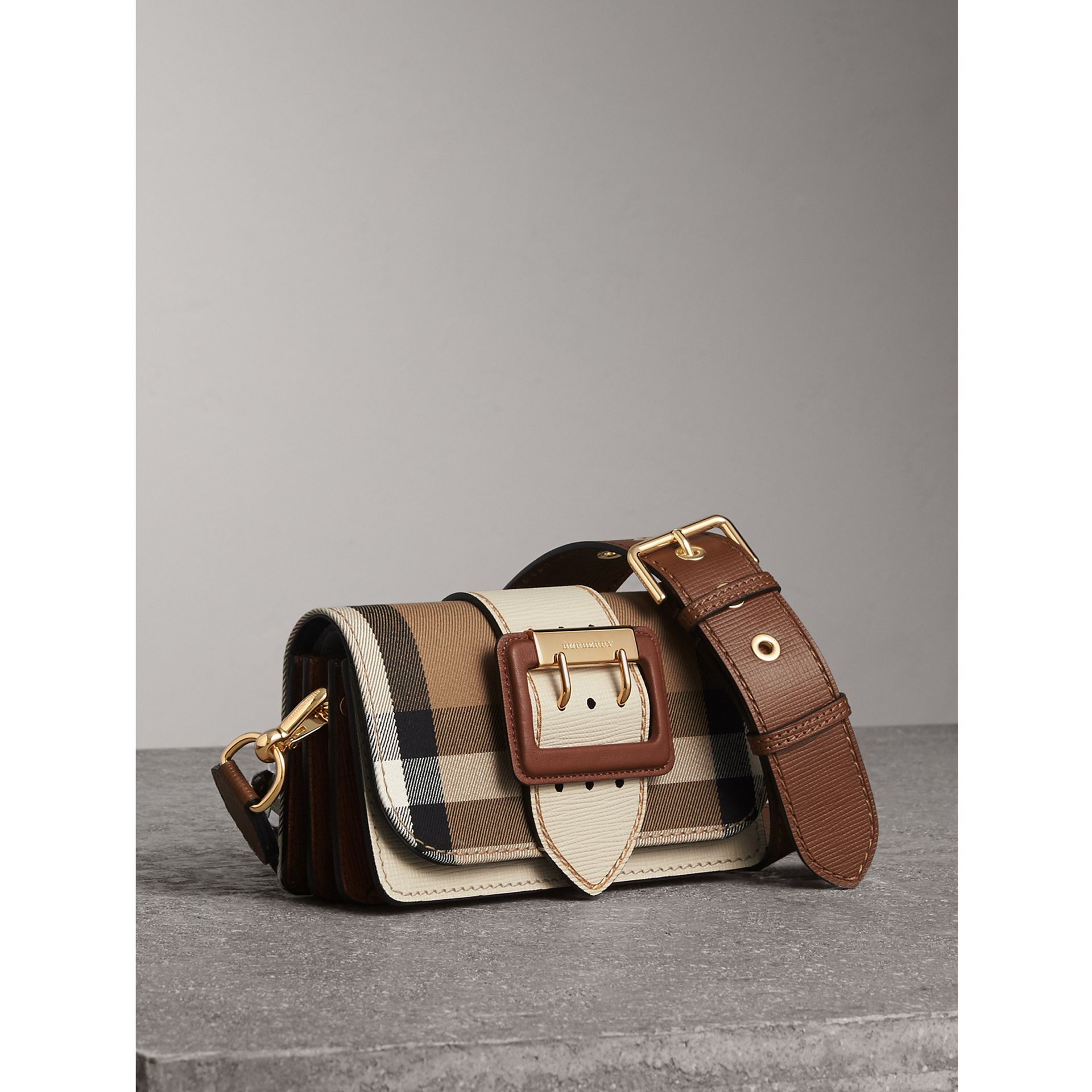 The Small Buckle Bag in House Check and Leather in Limestone - Women | Burberry Australia - gallery image 7