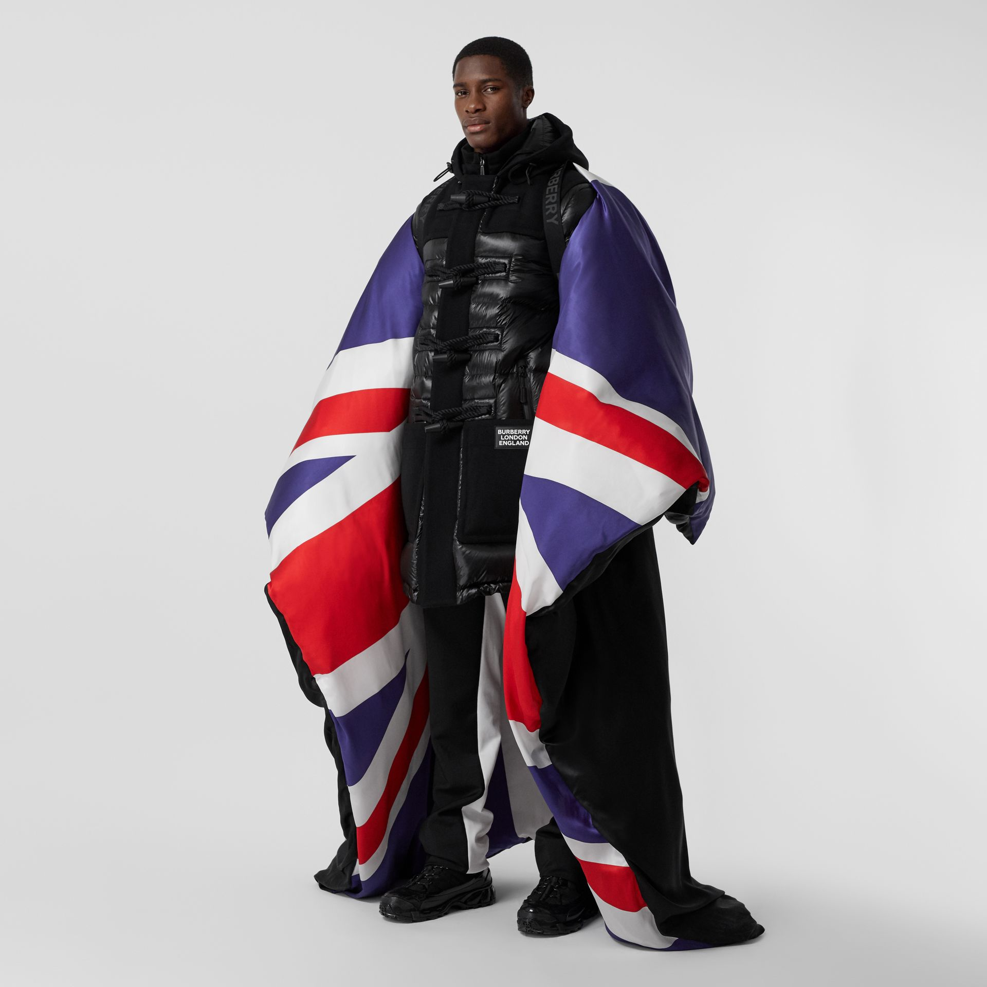 Union Jack and Logo Print Oversized Puffer Cape in Multicolour | Burberry United States - gallery image 6