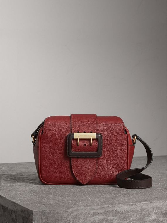 The Small Buckle Crossbody Bag in Two-tone Leather in Antique Red