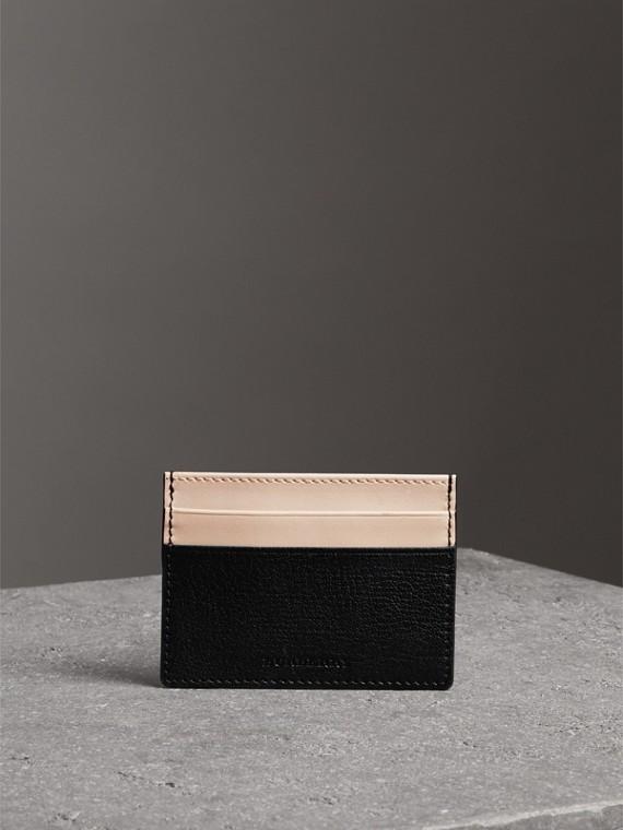雙色調皮革卡片夾 (黑色)