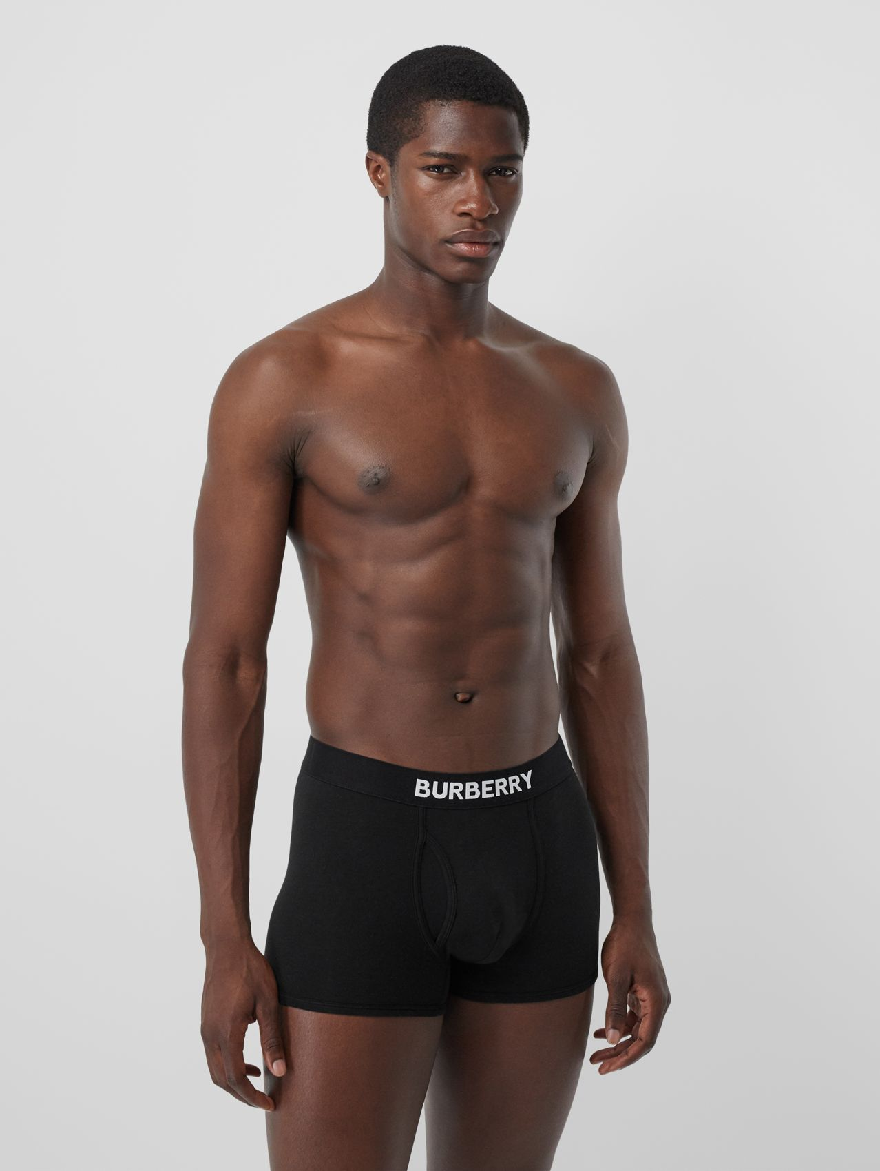 Logo Detail Stretch Cotton Boxer Shorts (Black)