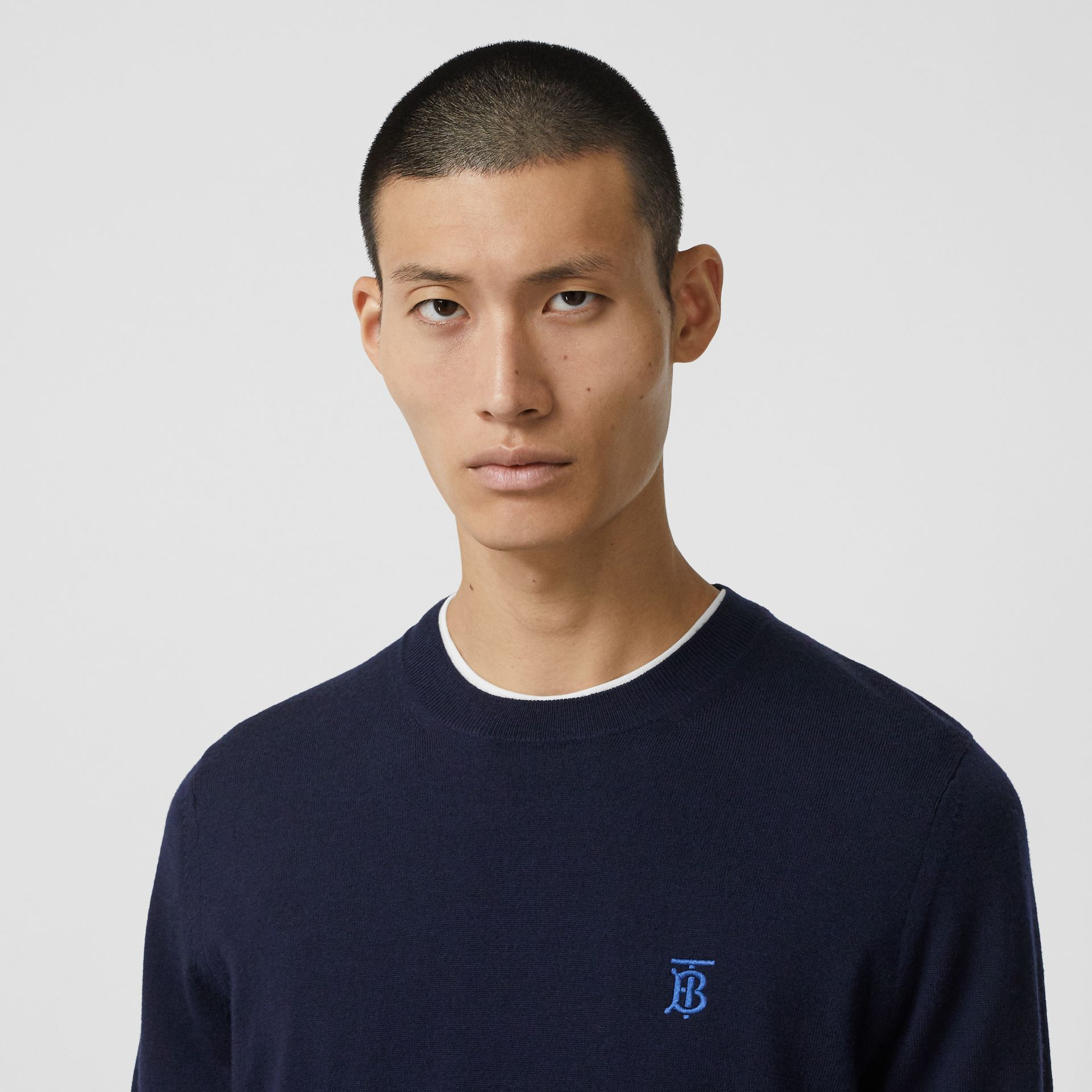 Monogram Motif Merino Wool Sweater in Navy - Men | Burberry - gallery image 1