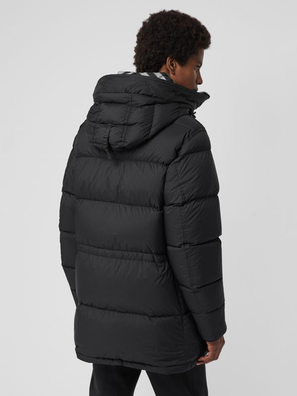 Check Detail Down-filled Hooded Puffer Coat in Black - Men | Burberry - cell image 2