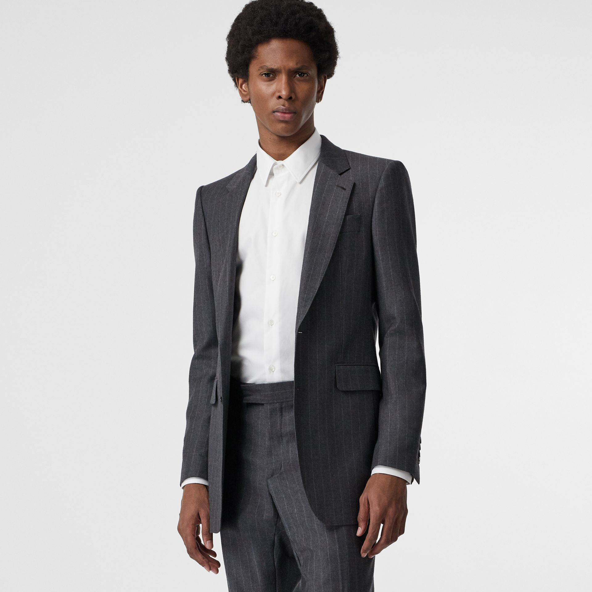 Slim Fit Pinstriped Wool Cashmere Suit in Mid Grey - Men | Burberry Australia - gallery image 7