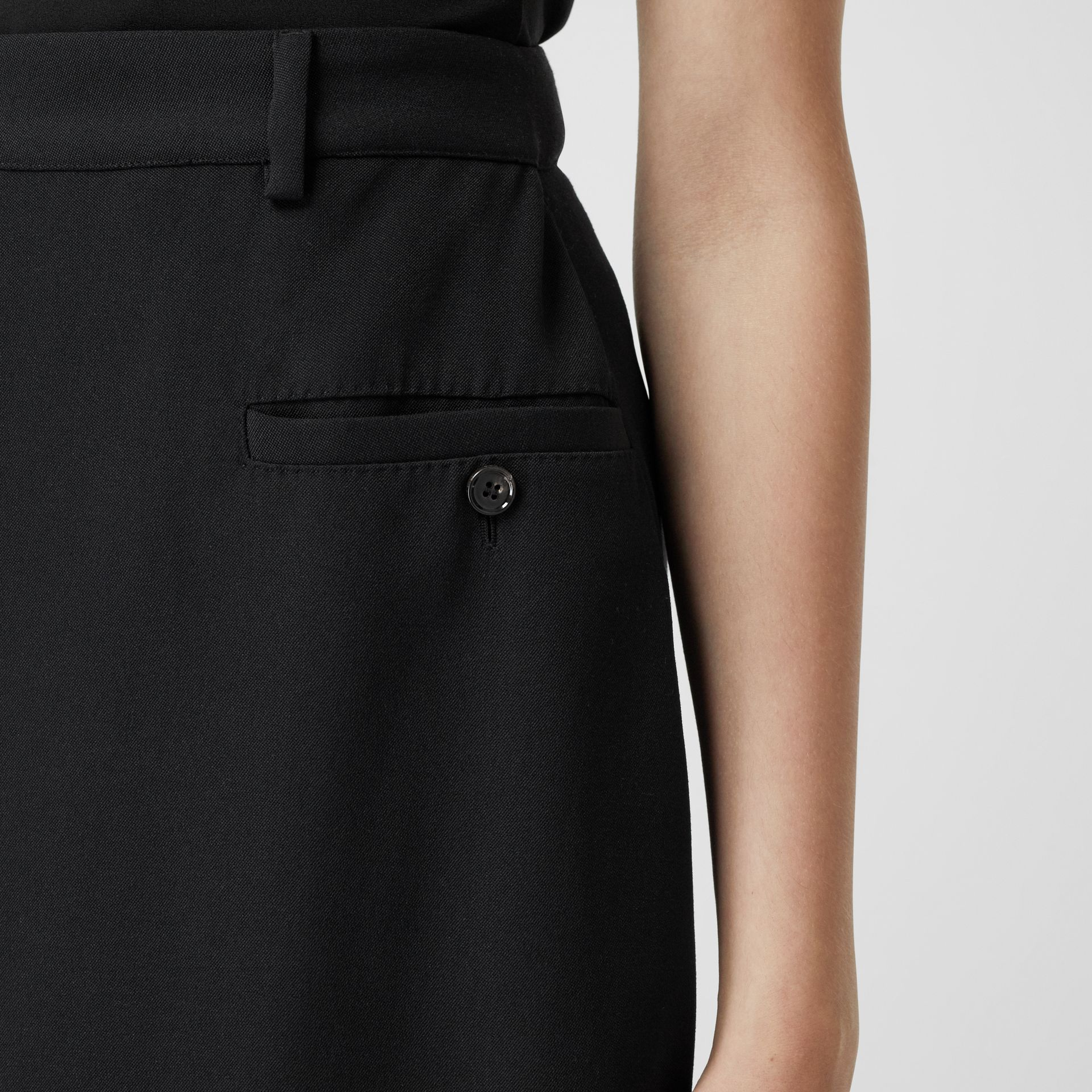 Skirt Panel Wool Wide-leg Trousers in Black - Women | Burberry - gallery image 1