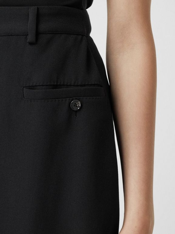 Skirt Panel Wool Wide-leg Trousers in Black - Women | Burberry - cell image 1