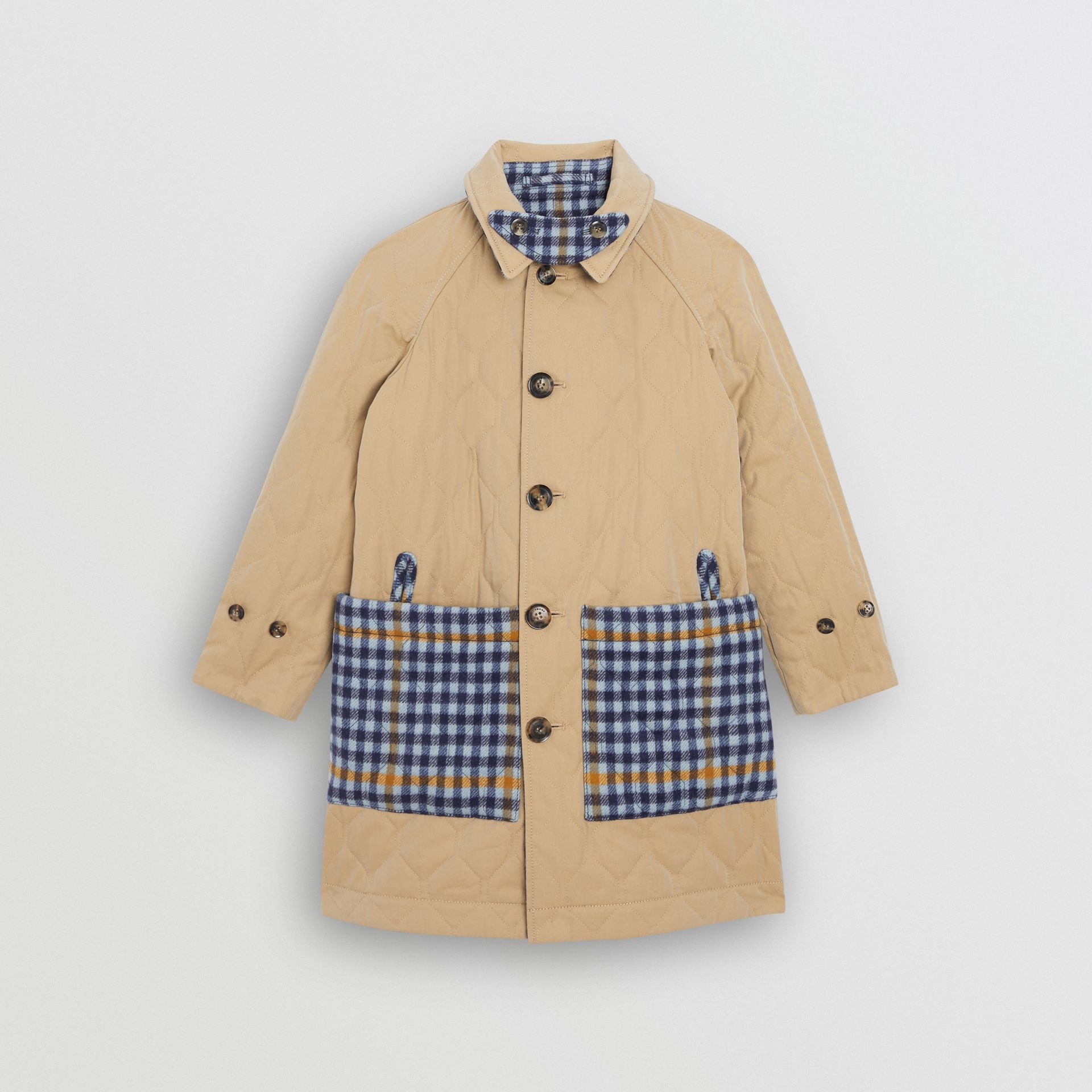 Reversible Check Wool and Cotton Car Coat in Canvas Blue - Children | Burberry - gallery image 3