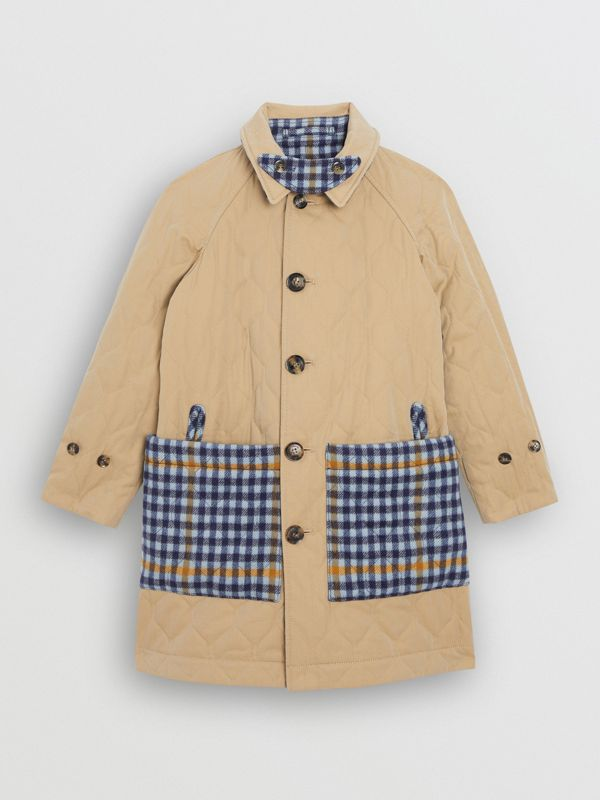 Reversible Check Wool and Cotton Car Coat in Canvas Blue | Burberry - cell image 3
