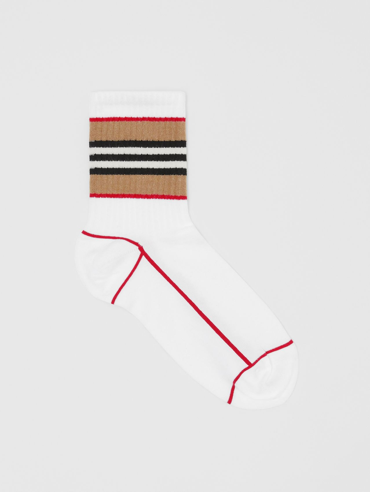 Icon Stripe Intarsia Cotton Blend Ankle Socks (White)