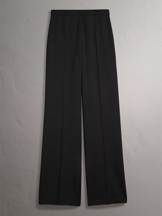 Wool Wide-leg Trousers in Black - Women | Burberry - cell image 3