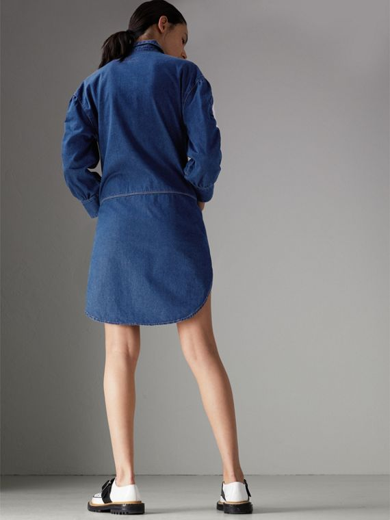 Japanese Cotton Shirt Dress in Light Indigo - Women | Burberry - cell image 2